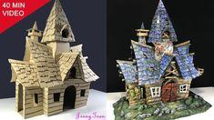 How To Make A Cardboard Haunted House Haunted Dollhouse, Haunted Dolls, Dollhouse Miniatures, Dollhouse Ideas, Putz Houses, Fairy Houses, Haunted Houses, Halloween Village, Halloween Diy