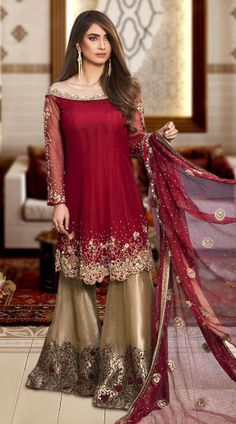 Maroon and light Gold Net and Silk Hand Work Sharara Suit for Bridal Indian Fashion Hand Work Sharara Suit with Stone and Resham with Zari Work Embroidery. Maroon and light Gold Net and Silk fabric Unstitched Suit Fabric. Pakistani Party Wear Dresses, Desi Wedding Dresses, Designer Party Wear Dresses, Pakistani Wedding Outfits, Pakistani Bridal Dresses, Pakistani Dress Design, Indian Dresses, Gharara Designs, Kurti Designs Party Wear