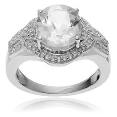 Journee Collection Sterling Silver Crystal Quartz Topaz Ring