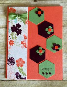 handmade card from Kards by Kadie ... pattern of punched hexagons with little punched flowers ... like the look ...
