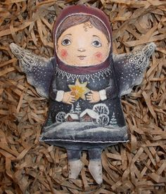 "Творческая мастерская ""Чердачные находки"" Doll Painting, Fabric Painting, Fabric Art, Clay Dolls, Art Dolls, Angel Artwork, Painted Gourds, Matryoshka Doll, Doll Maker"
