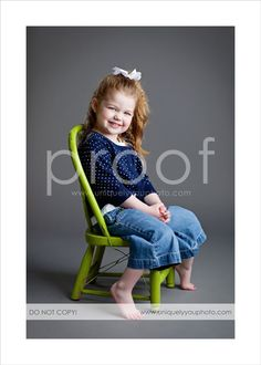 Love the vibrant colored chair and the full body shot in this one.