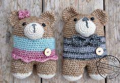 Rattle bears...boy & girl..free pattern lanukas