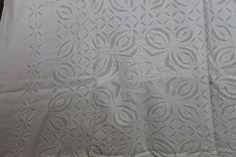 85 x 59 Pristine white applique flat bedsheet sofa by KanthaShop, $67.00