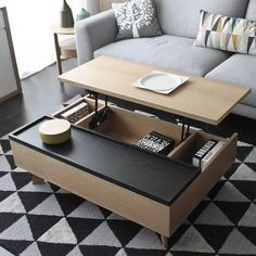 Modern Multifunction Lift Top Wood Coffee Table stylish in black and brown this big coffee table offers lots of space both on and in the table - Coffee Table - Ideas of Coffee Table Marble Top Coffee Table, Lift Top Coffee Table, Coffee Table With Storage, Foldable Coffee Table, Wood Table Design, Coffee Table Design, Table Designs, Adjustable Height Coffee Table, Center Table Living Room