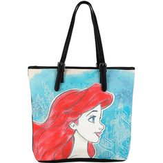 Disney The Little Mermaid Ariel Profile Tote Bag Hot Topic (130 SEK) ❤ liked on Polyvore featuring bags, handbags, tote bags, handbags totes, disney purse, disney tote bags, white tote and white tote bag