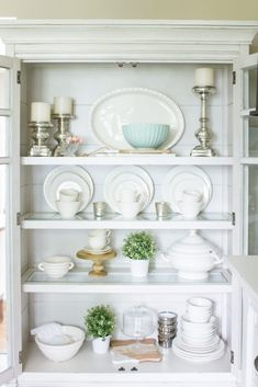 Farmhouse Home How to Style a Farmhouse China Cabinet is part of China Cabinet Organization - Simple ideas to help you style your china cabinet in farmhouse style… A little extra storage in the… China Cabinet Decor, Farmhouse China Cabinet, Buffet Cabinet, Cabinet Doors, Modern China Cabinet, Home Decor Bedroom, Diy Home Decor, Room Decor, Wall Decor