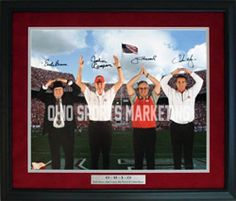 Ohio State Coaches Framed Limited Edition Autographed Photo with Earle Bruce, John Cooper, Jim Tressel & Urban Meyer performing the O-H-I-O in front of Ohio Stadium!