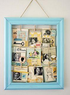 Visual Board area: usa una cornice, tendi dei fili di spago e appendi immagini e cartoline