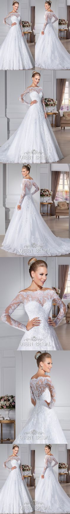 White long sleeve lace wedding dresses 2015 vintage a-line bridal dress wedding gown vestido de noiva manga longa H14