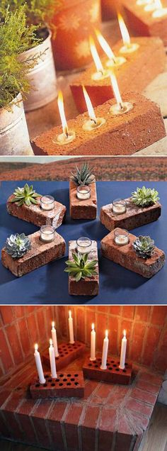Make these cute outdoor lighting with your leftover bricks and candles. #candlesonbrick