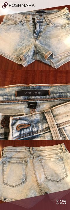 Flying monkey jean shorts These acid wash jean shorts are in excellent condition flying monkey Shorts Jean Shorts