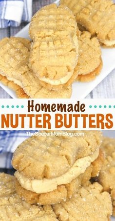 "CopyCat Recipe of Nutter Butter cookies. Soft peanut butter cookies filled with luscious peanut butter cream — these Homemade Nutter Butter cookies might just be better than the ""real"" thing! Cookie Sandwich, Peanut Butter Sandwich Cookies, Best Peanut Butter, Butter Chocolate Chip Cookies, Peanut Butter Filling, Peanut Butter Recipes, Homemade Peanut Butter Cookies, Soft Butter Cookies Recipe, Nutter Butter Cookie Recipe"