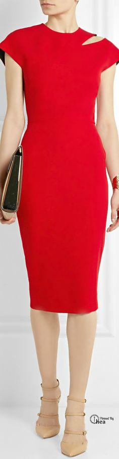 Victoria Beckham ● slim-fit red dress ~ Ⓣнεα