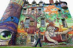 Os Gemeos, São Paulo, #Brasil http://www.osgemeos.com.br/en  Amazing #streetart #mural