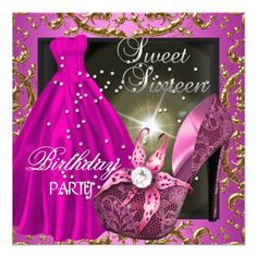 Sweet Sixteen 16 Birthday Party Pink Dress Gown Custom Invites Outfits