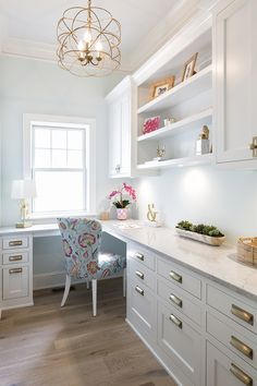Home Office with White Upper Cabinets and Light Gray Lower Cabinets - Transition. Home Office with White Upper Cabinets and Light Gray Lower Cabinets – Transitional – Den/librar Home Office Lighting, Home Office Space, Home Office Design, Home Office Decor, Home Interior Design, Home Decor, Office Designs, Office Nook, Office Ceiling Light