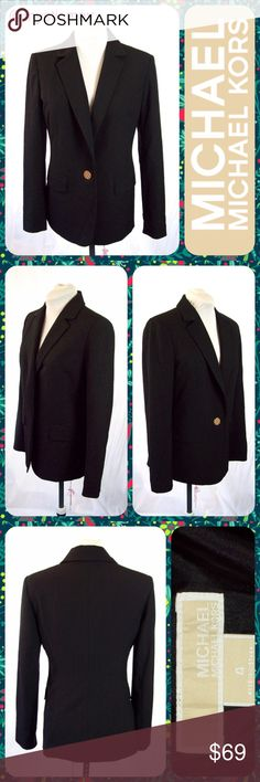 "MK Black Notch Collar 1-Button Career Blazer Sz 4 Classic black blazer from Michael Michael Kors with gold-tone signature MK button closure. Notch collar. Faux pockets at the hip. Long sleeves. Lined. Polyester blend so it's lightweight- great for layering. Size 4 or Small. Measures 18.5"" across the chest and 26"" in length. Sleeves are 23.5"" long. Measures 15.5"" across the shoulders. Does not stretch. Looks Like New! 😍😍 MICHAEL Michael Kors Jackets & Coats Blazers"