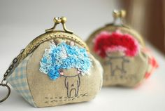Cute Bunny Girl Purse blue (Metal Frame, My Own Design and Hand Made) by Lazydoll on Etsy
