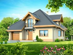Description DN Magnolia is a house with an attic, basement with garage single user in a block building. Bungalow House Plans, Bungalow House Design, Beautiful Small Homes, Micro House, Home Design Plans, Home Fashion, Magnolia, Building A House, 1