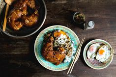 MAMA'S BRAISED CHICKEN LEGS ON RICE W/ FRIED CHILI CAPERS