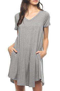f3b2457c727a3 Bamboo Fiber Knit Short Sleeve V-Neck T-shirt Dress (Small