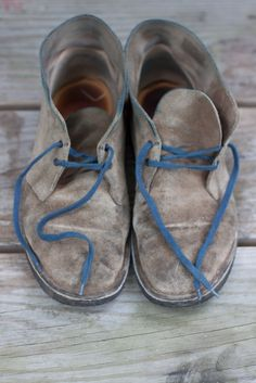 1ecd4e1114aff Dusty blue laced Clarks, a modern shoe that is both classy and comfortable.  These