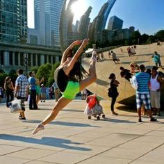 Dancer Rachel Davis in front of The Bean in Chicago - photo by Gina Esposito.