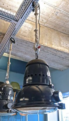 Heavy industrial lamps on manila rope (by func. Industrial Bedroom, Industrial Interiors, Industrial Lighting, Industrial Chic, Industrial Furniture, Vintage Industrial, Home Lighting, Lighting Ideas, Industrial Design