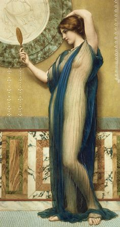 A Fair Reflection (hand Colored Photo-engraving) By John William Godward (after) Mirror; Vain Painting - A Fair Reflection by John William Godward John William Godward, John William Waterhouse, Pre Raphaelite Paintings, Canvas Art For Sale, Victorian Paintings, Renaissance Paintings, Rome Antique, Photo Engraving, Classical Art