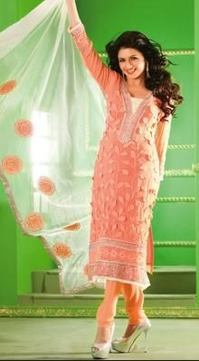 Gorgeous Look Pink Yellow Stripped Georgette Saree Checked