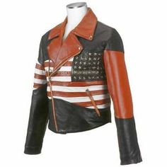 Men Biker America Flag Original Leather Jacket USA - All Sizes