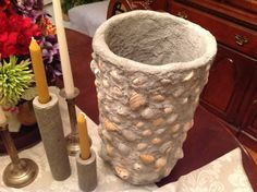 Concrete flower pot and candle holders...by lfp