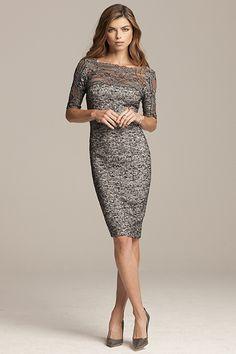 3/4 Sleeve Tweed Dress with Lace Illusion Neckline - Teri Jon