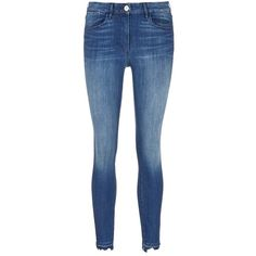 3x1 'W3' frayed cuff cropped skinny jeans (£195) ❤ liked on Polyvore featuring jeans, pants, bottoms, calças, jeans/pants, blue, faded jeans, slim fit skinny jeans, faded blue jeans and cuffed jeans