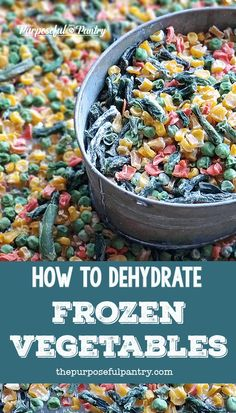 Want to make some extra room in your freezer? Want to put away that frozen vegetable pack you bought from Costco? Learn this easy beginner dehydrator process to stock your pantry with shelf-stable vegetables. Dehydrated Vegetables, Dried Vegetables, Dehydrated Food, Frozen Vegetables, Fruits And Veggies, Canning Recipes, Raw Food Recipes, Vegetable Recipes, Canning Tips
