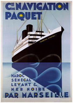 Affiche Cie de Navigation Paquet - Maroc