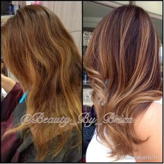 Before and after. Darkened her base and added a full head of balayage highlights.