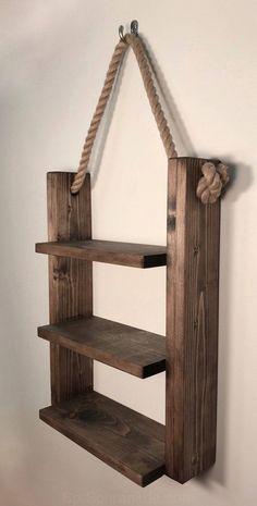 Rustic Ladder Shelf- Rustic Wood and Rope Ladder Shelf, Bathroom Organizer, Entryway Shelf - wood projects Rustic Ladder, Rustic Wood, Rope Ladder, Wood Wood, Wood Stain, Dark Wood, Wood Art, Wooden Ladder, Rustic Art