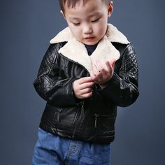 nice 2015 Autumn Winter Boys Motorcycle Faux Leather Jackets Kids New Fashion PU Thick Warm Outerwear Coats Hot