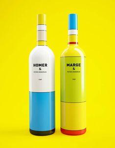 """Des bouteilles de vin inspirées de Mondrian et des Simpson / """"Wine or mabe not ?"""" -  Constantin Bolimond et Dmitry Patsukevich."""