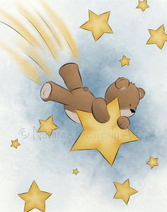 11 x 14 Teddy Bear Baby Nursery Wall Art, Childrens Art Print, Art for Childs Room Decor Shooting Star (153) by NaturesHeavenlyArt on Etsy https://www.etsy.com/listing/192702794/11-x-14-teddy-bear-baby-nursery-wall-art