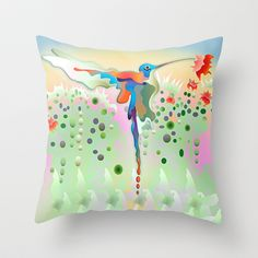 Colibrí by FlyingColors (Lisa Rivas) a Throw Pillow from $20.00 to $35.00