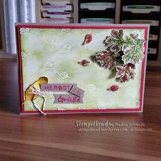 Stampin UP! Grüße zum Herbst. Mit Lovely as a Tree, Labeler Alphabet in Farngrün, Gartengrün, Glutrot und Taupe