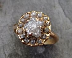 Raw Diamond Halo Engagement Ring Rough 18k rose Gold by byAngeline