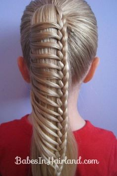 Chinese Ladder Braid by Erin Balogh. Here is a little video about how to do the Chinese Ladder Braid -- also called the . A couple tips: the Pretty Hairstyles, Girl Hairstyles, Braided Hairstyles, Braided Ponytail, Braid Hair, Wedding Hairstyles, Updo Hairstyle, Braided Buns, Box Braid