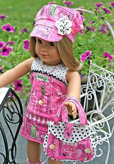 American Girl Doll 8 pc Bistro Cafe Outfit . Strapless Dress . Knit Top . Hat . Necklace . Purse . Sunglasses w/ Cozy . Sandals