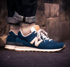 "Blauer New Balance M574 OUB ""North Sea"" in Canvas und Wildleder Upper - solekitchen.de 