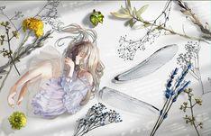 Anime Original Girl Long Hair Fairy Wallpaper Fairy Wallpaper, More Wallpaper, Original Wallpaper, Wallpaper Backgrounds, Dress Hairstyles, Fantasy Women, Flower Dresses, See Through, Image Boards