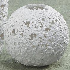 White Flower Ball Vase.